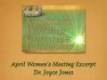 KWCF April Women's Meeting Excerpt- Dr. Joyce Joyce