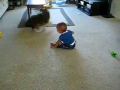 """Let the giggling begin"" Baby and dog invent their own game"