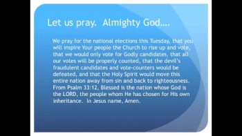 A Prayer for the Elections, Tuesday November 2nd (The Evening Prayer 31Oct10)