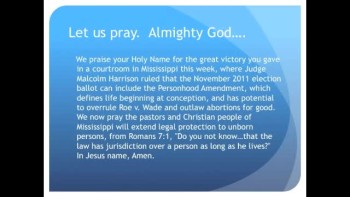 Judge Rules Personhood OK for Mississippi Ballot (The Evening Prayer 01 Nov10)