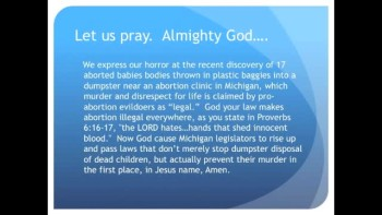 17 Aborted Babies Found in Michigan Dumpster (The Evening Prayer 02Nov10)