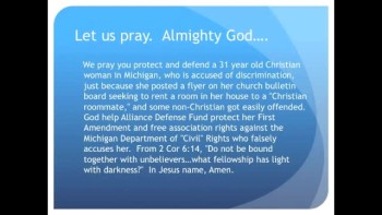 "Michigan says ""no Christian roommates"" (The Evening Prayer 05Nov10)"