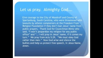 Atheists Threaten to Ban Jesus Prayers in SC (The Evening Prayer 08Nov10)