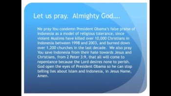 Obama Praises Indonesia Who Killed Thousands Of Christians(The Evening Prayer - 14 Nov 10)