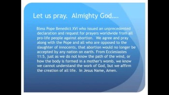Pope Benedict Calls for Worldwide Prayer Against Abortion (The Evening Prayer - 17 Nov 10)