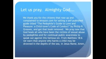 Amazon Stops Selling a Guide for Pedophiles (The Evening Prayer - 19 Nov 10 )