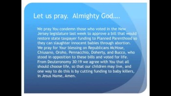 New Jersey Tries to Restore Planned Parenthood Funding (The Evening Prayer - 01 Dec 10) 