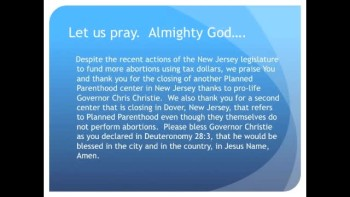 New Jersey Planned Parenthood Closes Another Center (The Evening Prayer - 02 Dec 10)