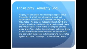 "Appeals Court Hears Prop 8 Gay ""Marriage"" Case (The Evening Prayer 12 Dec 10)"
