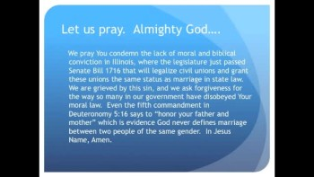 Illinois Legislators Force Homosexual Civil Unions on Public (The Evening Prayer - 14 Dec 10)