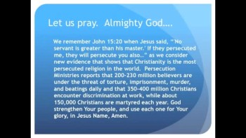  Christianity Arguably the Most Persecuted Religion in the World (The Evening Prayer - 18 Dec 10)  