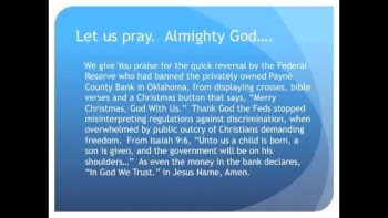 Feds Stop Banning Crosses, Bible Verses in Private Bank (The Evening Prayer - 28 Dec 10)