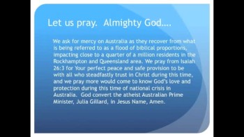 Australian Floods Larger than France and Germany Combined (The Evening Prayer - 08 Jan 11)