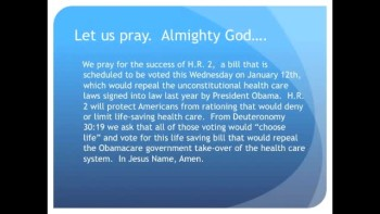 The Evening Prayer - 09 Jan 11 - House to Vote on Obama Care Repeal Next Week