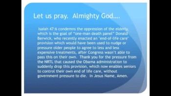 The Evening Prayer - 11 Jan 11 Death Panels Dropped by Obama Administration