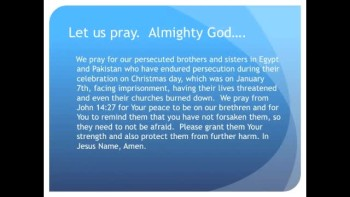 The Evening Prayer 13 Jan 11 - More Fear and Persecution of Egyptian, Pakistani Christians