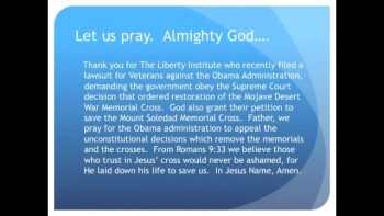 The Evening Prayer - 17 Jan 11 - Veterans Sue Obama to Restore Desert Cross