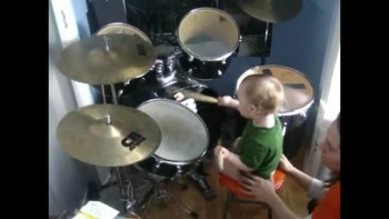12 month old Max plays the drums