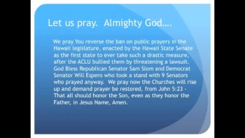 The Evening Prayer - 30 Jan 11 - Hawaii: Senate Bans Prayer, Nine Senators Take A Stand