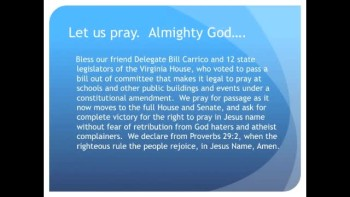 The Evening Prayer - 31 Jan 11 -Virginia: Constitutional Amendment Would Protect Public Prayers