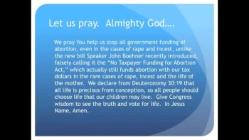 The Evening Prayer - 04 Feb 11 -Boehner Abortion Bill Will Fund Abortions in the Case of Rape