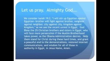 The Evening Prayer - 08 Feb 11 - Obama supports Muslim Brotherhood against Egypt Christians