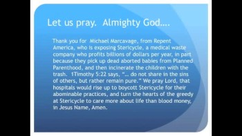 The Evening Prayer - 10 Feb 11 - Stericycle Profits From Aborted Baby Parts