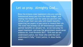 The Evening Prayer - 24 Feb 11 - Arizona Tries to End Homosexual Bonus Pay