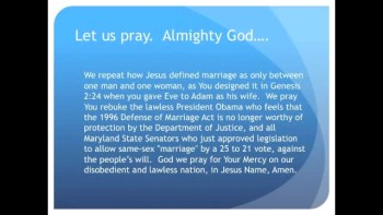 "The Evening Prayer - 28 Feb 11 - Obama Fights DOMA, Maryland Senate Approves Gay ""Marriage"""