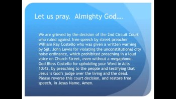 The Evening Prayer - 01 Mar 11 - 2nd Circuit Court Rules Preacher was Too Loud