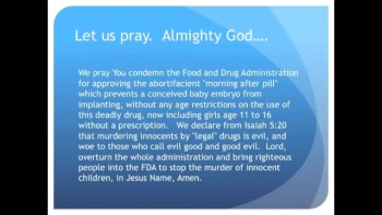 The Evening Prayer - 04 Mar 11 - FDA Sells Abortion Pill to 11 Year Old Girls