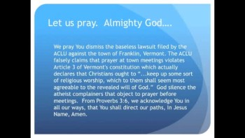 The Evening Prayer - 08 Mar 11 - ACLU Sues Vermont Town to Stop Prayers