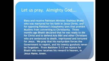 The Evening Prayer - 12 Mar 11 - Pakistani Christian Shot Dead for Opposing Blasphemy Laws