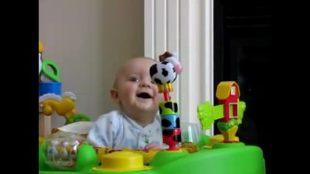 Cute!  Baby laughs at mommy blowing her nose