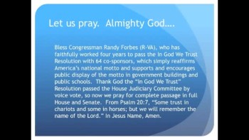 "The Evening Prayer - 20 Mar 11 - Full House to Vote on ""In God We Trust"" after Judiciary Passes"