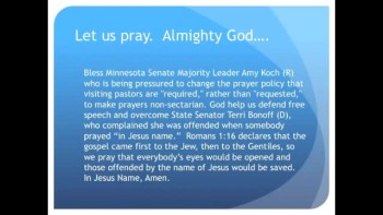 The Evening Prayer - 21 Mar 11 - Minnesota State Senator wants to Ban Jesus Prayers