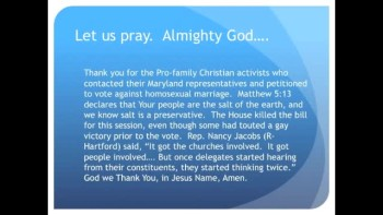 The Evening Prayer - 24 Mar 11 - Victory! Pro-Family Activists Stop