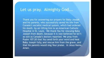 The Evening Prayer - 25 Mar 11 - Victory! Baby Joseph flown to USA, Possibly Misdiagnosed