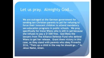 The Evening Prayer - 26 Mar 11 - Germany: 10 Christian Parents Jailed for Homeschooling own Kids