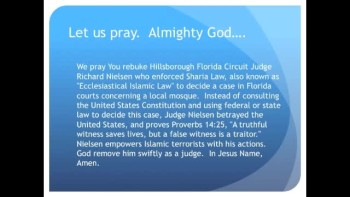 The Evening Prayer - 28 Mar 11 - Florida Judge Orders Use of Islamic Law in Lawsuit