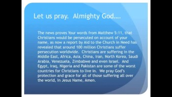 The Evening Prayer - 01 Apr 11 - Report: 75 Percent of Religious Persecution is Against Christians
