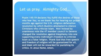 The Evening Prayer - 09 Apr 11 - Victory! U.N. Stops Efforts to Protect Islam from Criticism