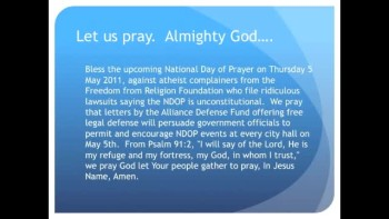 The Evening Prayer - 10 Apr 11 - National Day of Prayer on Firm Legal Footing