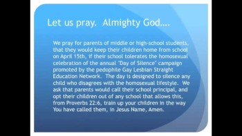 The Evening Prayer - 11 Apr 11 - Parents: Keep Kids Home from School April 15th