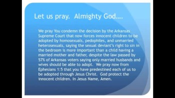 The Evening Prayer - 15 Apr 11 - Arkansas Court Forces Homosexual Adoption on Innocent Children