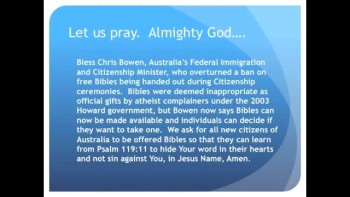 The Evening Prayer - 16 Apr 11 - Australia: Bibles Allowed Again at Citizenship Ceremonies