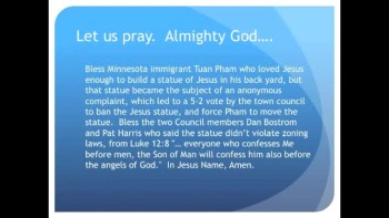 The Evening Prayer - 19 Apr 11 - Minnesota Town Bans Jesus Statue in Man's Back Yard