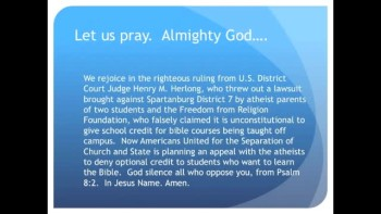 The Evening Prayer - 22 Apr 11 - Court says Bible Classes OK for Public School Credit