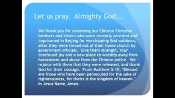 The Evening Prayer - 23 Apr 11 - Chinese Christians Arrested for Public Worship