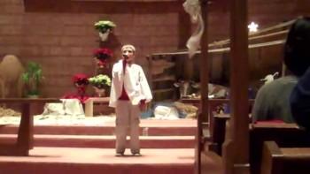 Max singing Happy Birthday Jesus at the church Christmas program